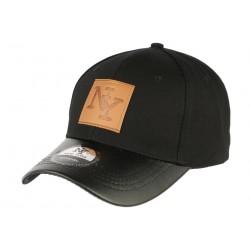 Casquette NY noire visière cuir noir Major