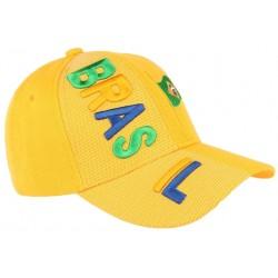 Casquette Bresil  jaune verte et bleu drapeau Bresilien