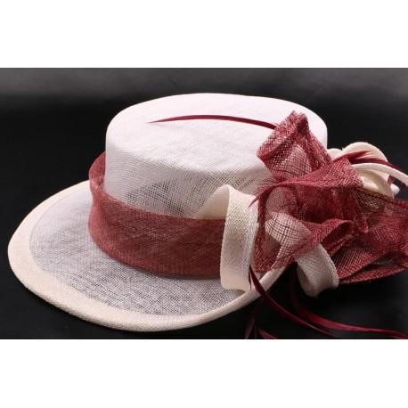Chapeau mariée Lea en sisal écru et bordeaux