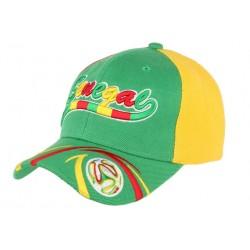 Casquette Senegal Football verte, jaune et rouge