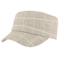 Casquette militaire marron rayures blanches Aincy