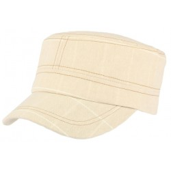Casquette militaire beige rayures blanches Aincy