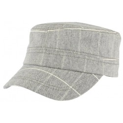 Casquette militaire grise rayures blanches Aincy