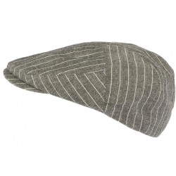 Casquette plate grise ete rayures blanches Vincy