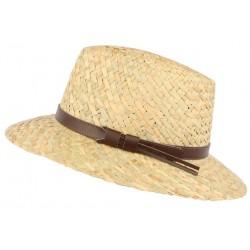Chapeau de paille naturelle beige ceinture cuir marron