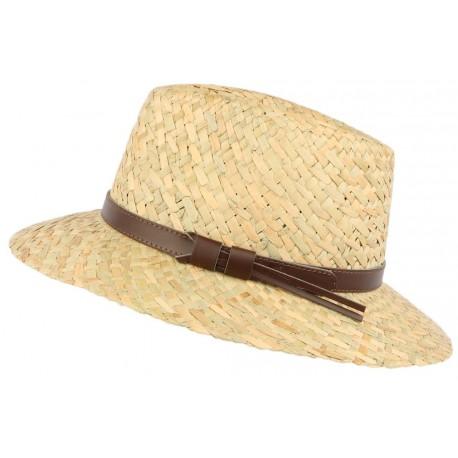 Chapeau de paille naturelle beige ceinture cuir marron CHAPEAUX Léon montane