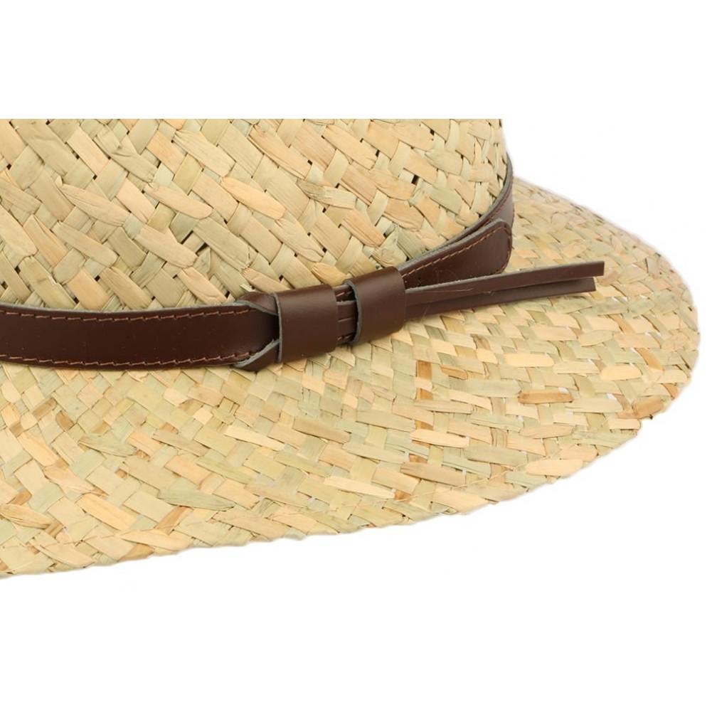 2d97724b1ca ... Chapeau de paille naturelle beige ceinture cuir marron ...