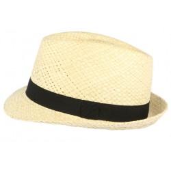 Chapeau trilby de paille beige clair ceinture noire