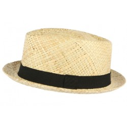 Chapeau Porkpie paille beige ceinture noire Charly
