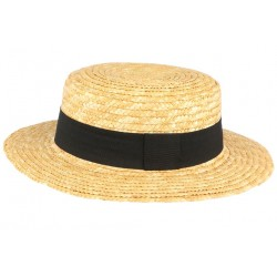 Chapeau de paille canotier beige ceinture noire Moritz