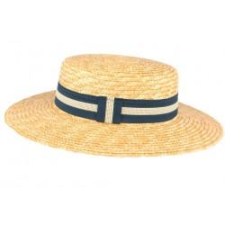 Chapeau de paille canotier beige ceinture bleue Moritz