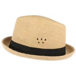 Chapeau Porkpie en lin beige ceinture noire Hackman
