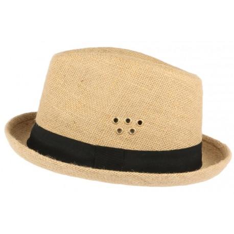 Chapeau Porkpie en lin beige ceinture noire Hackman CHAPEAUX Léon montane