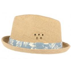 Chapeau Porkpie en lin beige ceinture bleue Hackman