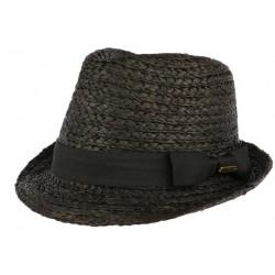 Petit chapeau paille noire raphia Valman CHAPEAUX Léon montane