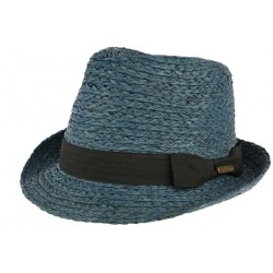 Petit chapeau paille bleue raphia Valman CHAPEAUX Léon montane