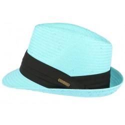 Petit chapeau de paille bleu ciel fait main Lordman