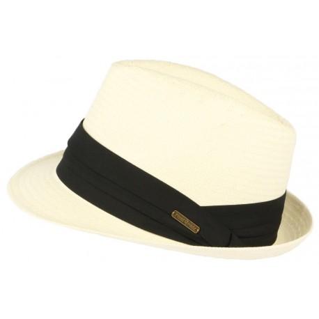 Petit chapeau paille blanc casse fait main Lordman CHAPEAUX Léon montane