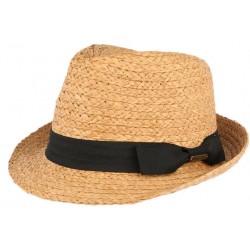 Petit chapeau paille marron clair raphia Valman