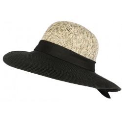 Chapeau paille femme noir et blanc Elysie