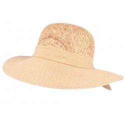 Chapeau paille femme rose et beige Elysie