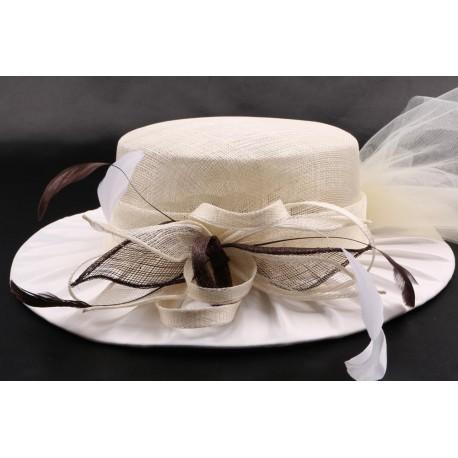 Chapeau mariée Bulle en sisal ecru et marron