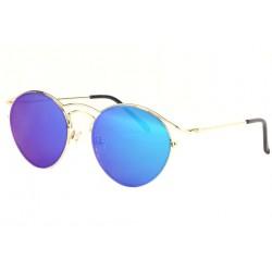 Lunettes soleil miroir rondes bleues et dorées Mully