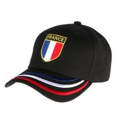Casquette France noire blason drapeau bleu blanc rouge