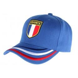Casquette France bleue blason drapeau bleu blanc rouge