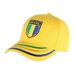 Casquette Bresil jaune blason verte jaune et bleu