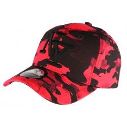 Casquette NY militaire rouge et noire Aincys