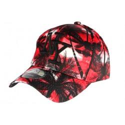 casquette baseball enfant noire et rouge Tropical 7 à 12 ans