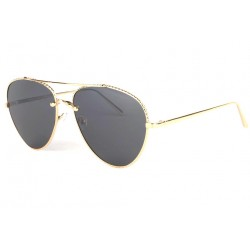 Lunettes de soleil aviateur tendance noire et dorée