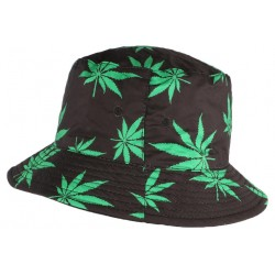 Chapeau Bob Noir Feuille Verte réversible