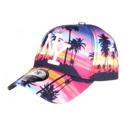 Casquette baseball bleu rose Tropical Night