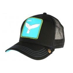 Casquette Goorin Peace noire et bleue avec colombe blanche Bee blanche