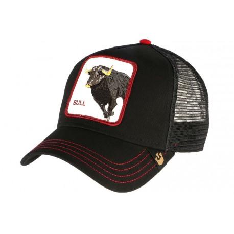 Casquette Goorin Bull noire et rouge avec Taureau