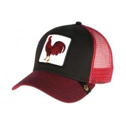 Casquette Goorin Cock rouge bordeaux avec Coq