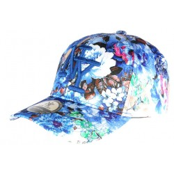 Casquette NY Bleu et blanche à Fleurs Bali CASQUETTES Hip Hop Honour