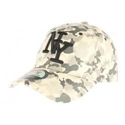Casquette NY militaire beige et grise cuir daim Kraft