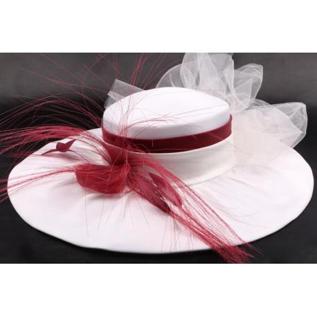 Chapeau mariée Laela en taffetas écru bordeaux