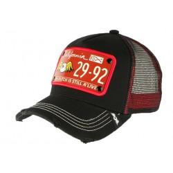 Casquette Von Dutch Noire et Rouge Plaque California 2992