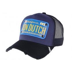 Casquette Von Dutch Bleue et Noire Truck Plaque California Kustom CASQUETTES VON DUTCH
