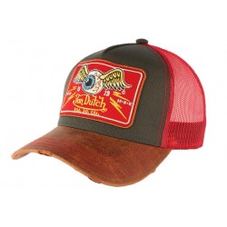 Casquette Von Dutch Rouge cuir Flying Eyeball Truck