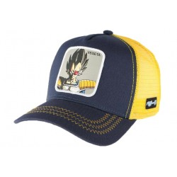 Casquette trucker Vegeta Dragon Ball Z Jaune et bleue Collabs CASQUETTES COLLABS