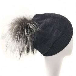 Bonnet pompon fourrure noir Chalime Celine Robert
