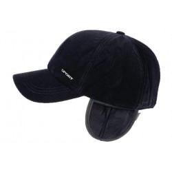 Casquette baseball cache oreille bleu velours Steyson