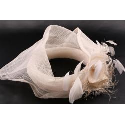 Serre tête mariée Béa en sisal écru Chapeau mariée Léon montane