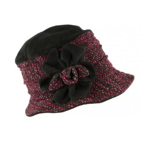 Toque chapeau laine femme noire rose Leana