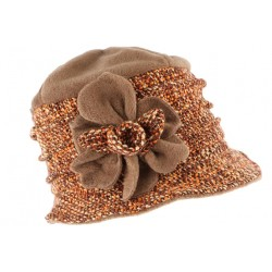 Toque chapeau laine femme orange marron Leana